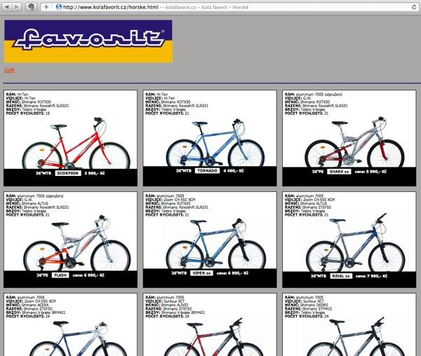 Stránka společnosti KOVL nabízející kola Favorit v letech 2011 až 2013